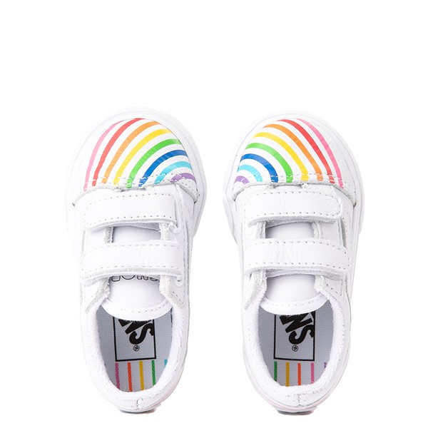 alternate view Vans x FLOUR SHOP Old Skool V Rainbow Skate Shoe - Baby / Toddler - WhiteALT4B