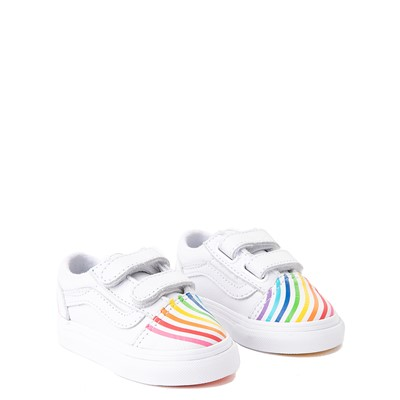 Alternate view of Vans x FLOUR SHOP Old Skool V Rainbow Skate Shoe - Baby / Toddler - White