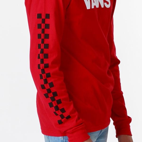 alternate view Mens Vans Drop V Checkerboard Long Sleeve Tee - Racing RedALT2B