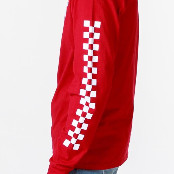 alternate view Mens Vans Drop V Checkerboard Long Sleeve Tee - Racing RedALT2C