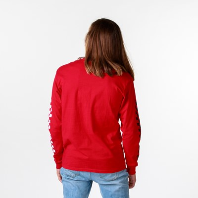 Alternate view of Mens Vans Drop V Checkerboard Long Sleeve Tee - Racing Red