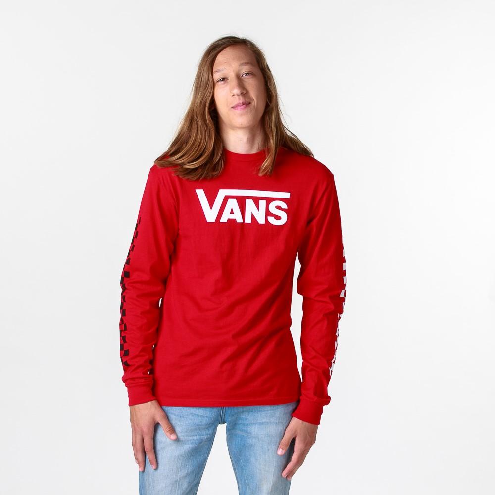 Mens Vans Drop V Checkerboard Long Sleeve Tee - Racing Red