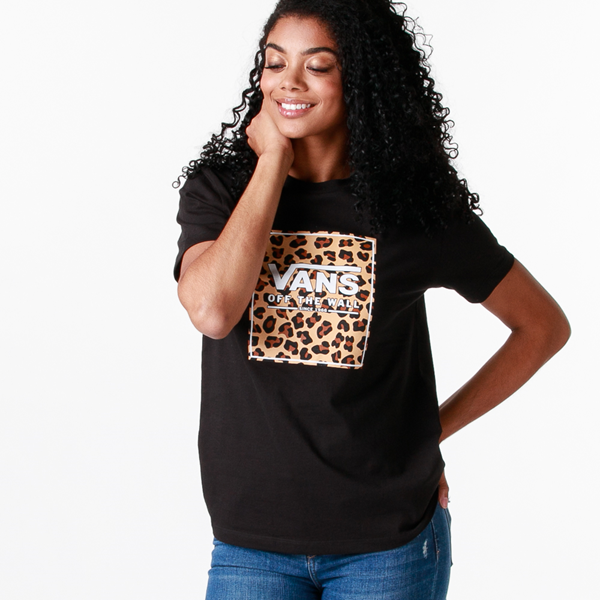 Main view of Womens Vans Box Logo Boyfriend Tee - Black / Leopard