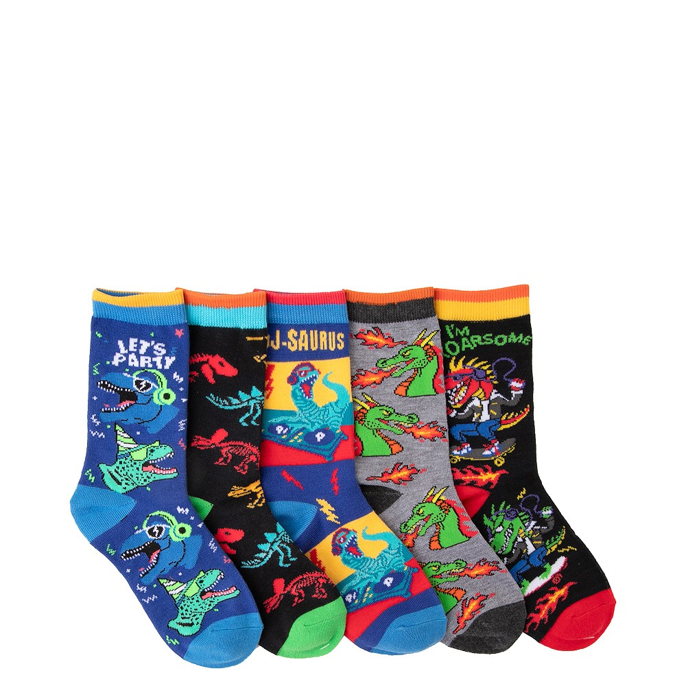 Dino Crew Socks 5 Pack - Little Kid - Multicolor