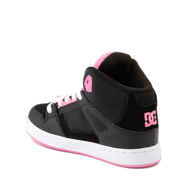 alternate view DC Pure Hi Skate Shoe - Little Kid / Big Kid - Black / PinkALT1