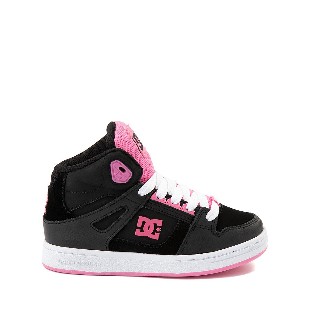 DC Pure Hi Skate Shoe - Little Kid / Big Kid - Black / Pink