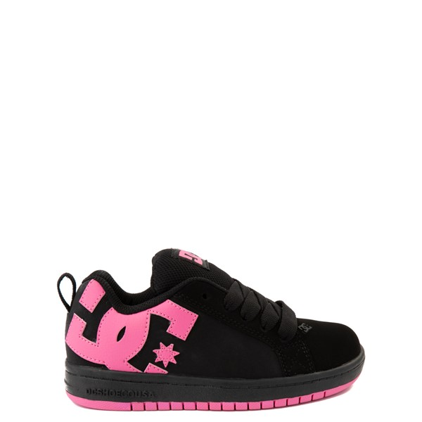 Main view of DC Court Graffik Skate Shoe - Little Kid / Big Kid - Black / Pink