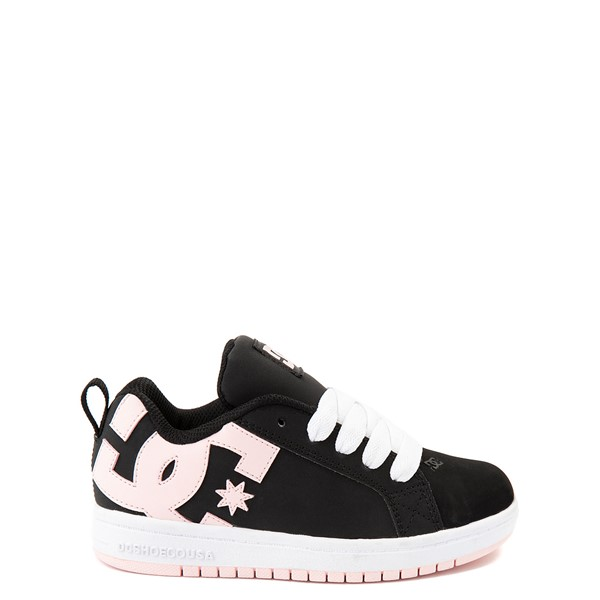 Main view of DC Court Graffik Skate Shoe - Little Kid / Big Kid - Black / Light Pink
