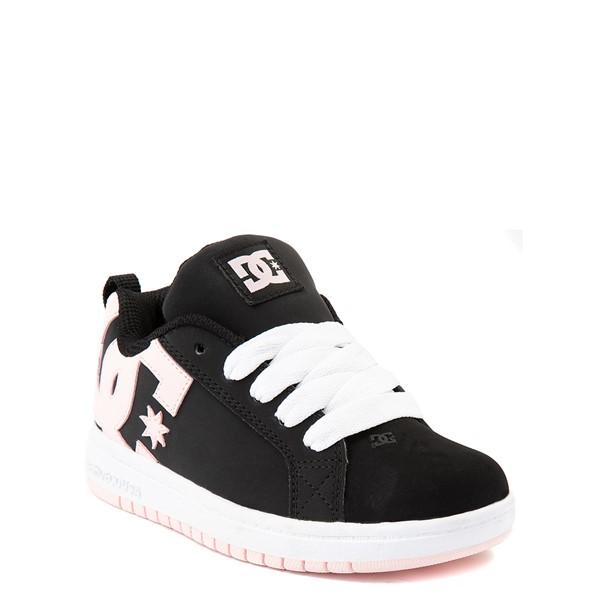 alternate view DC Court Graffik Skate Shoe - Little Kid / Big Kid - Black / Light PinkALT1