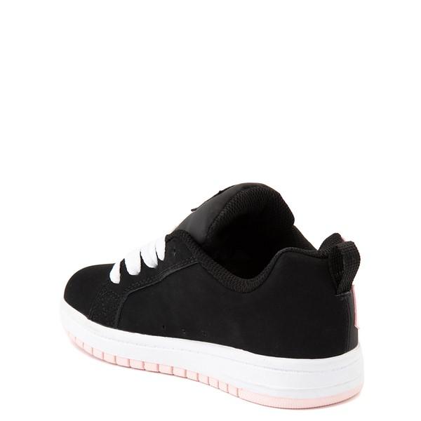alternate view DC Court Graffik Skate Shoe - Little Kid / Big Kid - Black / Light PinkALT2