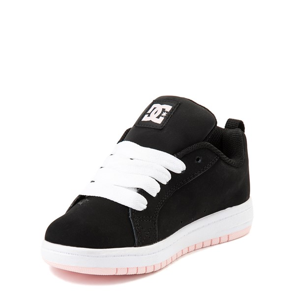 alternate view DC Court Graffik Skate Shoe - Little Kid / Big Kid - Black / Light PinkALT3