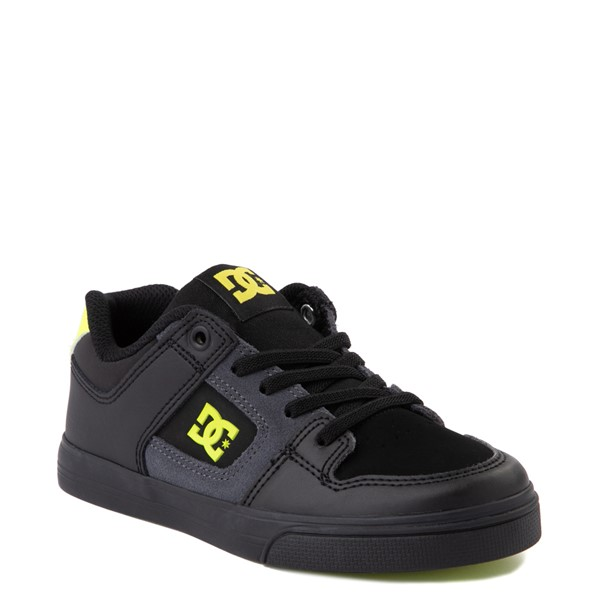 alternate view DC Pure Elastic Skate Shoe - Little Kid / Big Kid - Black / VoltALT1