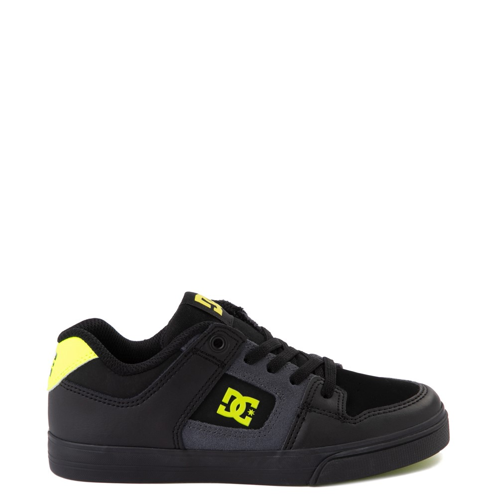 DC Pure Elastic Skate Shoe - Little Kid / Big Kid - Black / Volt