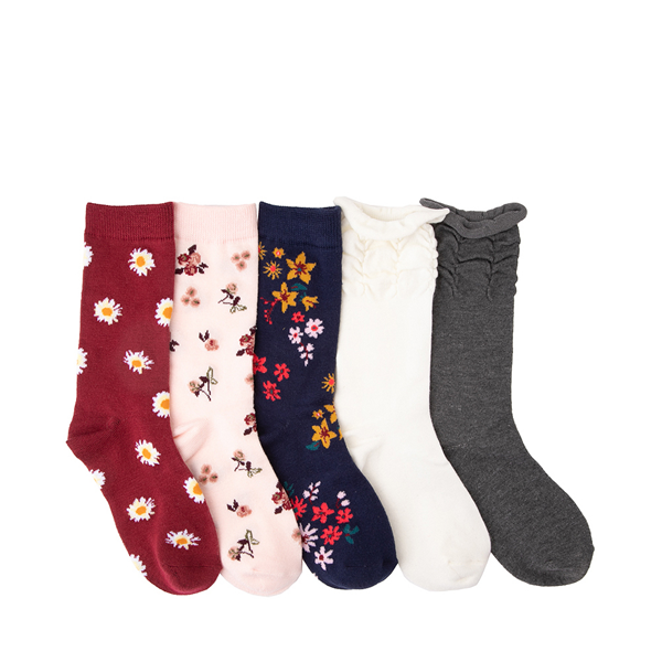 Main view of Floral Ruffle Crew Socks 5 Pack - Little Kid - Multicolor