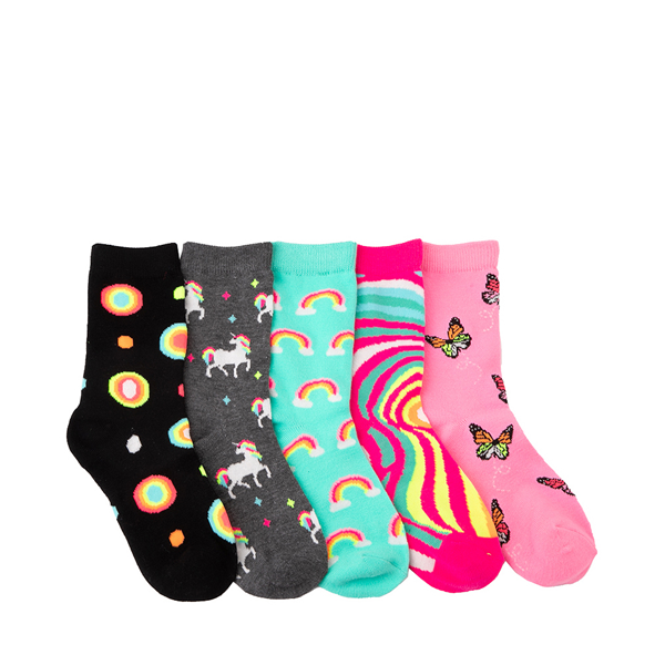 Unicorn Rainbow Glow Crew Socks 5 Pack - Toddler - Multicolor