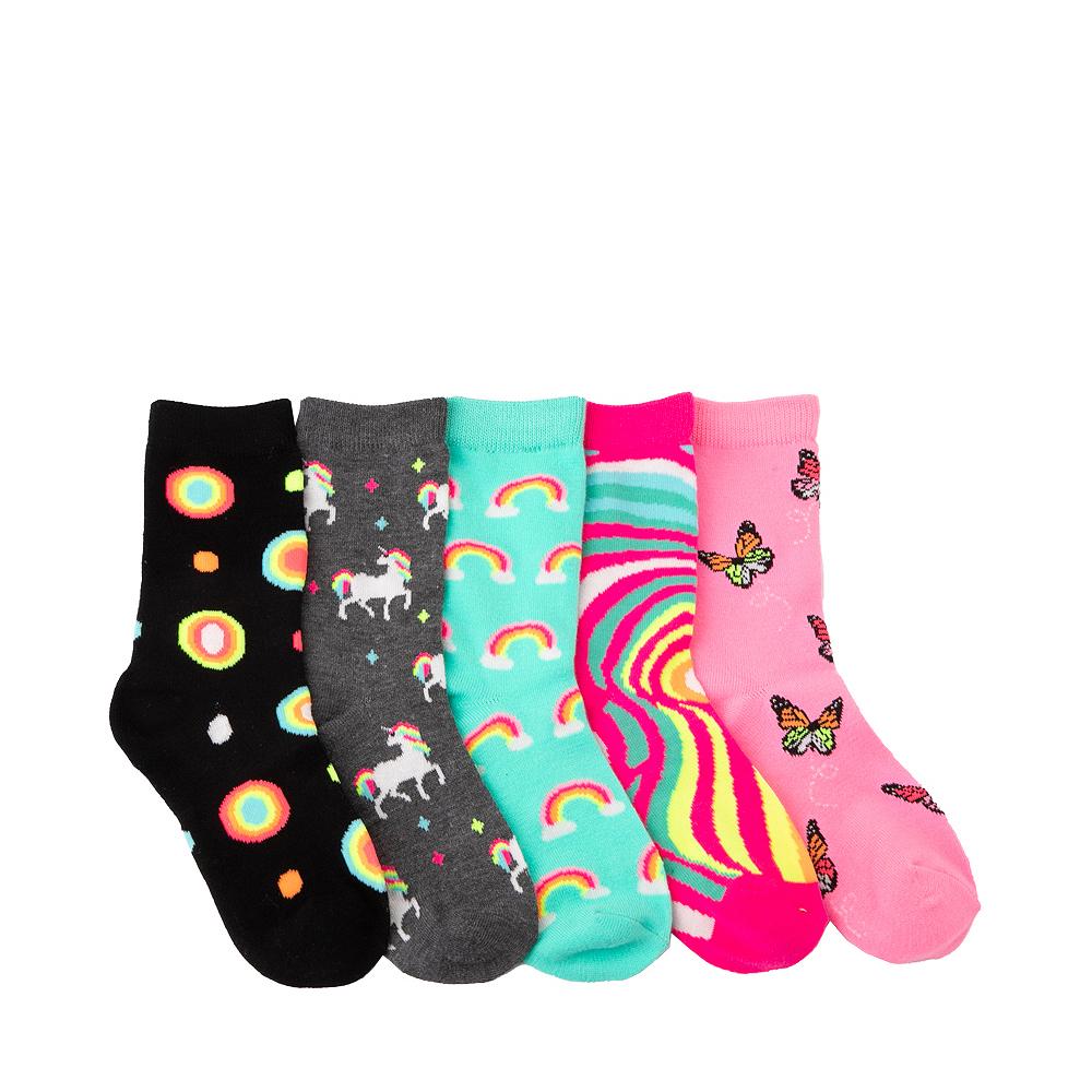Unicorn Rainbow Glow Crew Socks 5 Pack - Little Kid - Multicolor