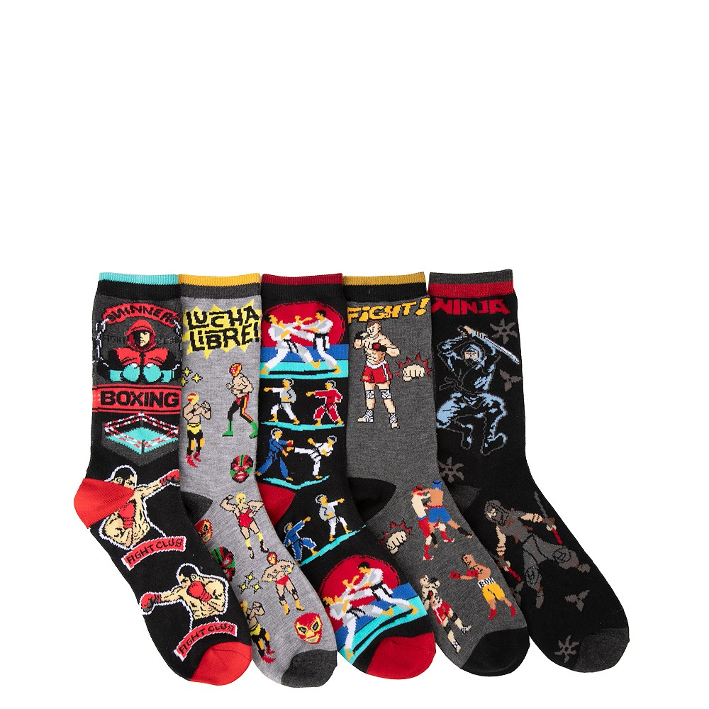 Fighter Crew Socks 5 Pack - Big Kid - Multicolor