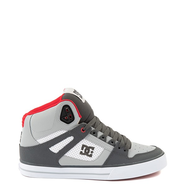 Mens DC Pure Hi WC Skate Shoe - Gray / White / Red