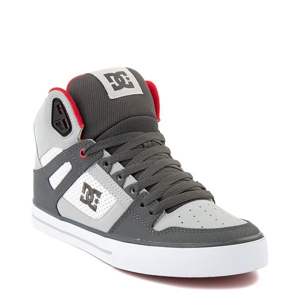 alternate view Mens DC Pure Hi WC Skate Shoe - Gray / White / RedALT1