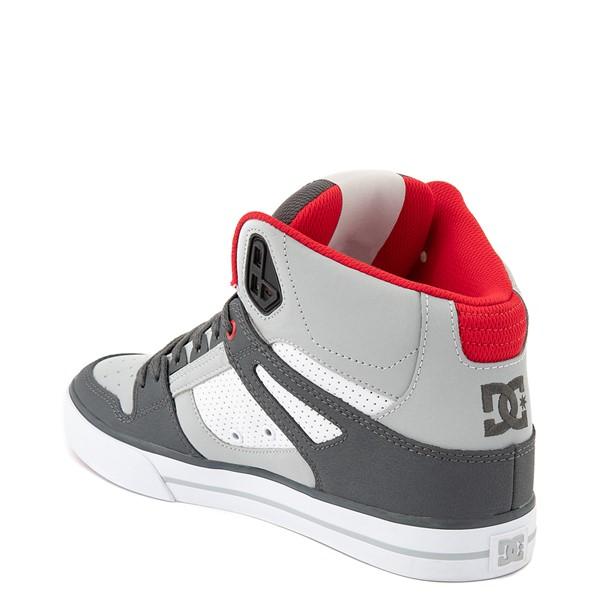 alternate view Mens DC Pure Hi WC Skate Shoe - Gray / White / RedALT2