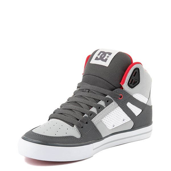 alternate view Mens DC Pure Hi WC Skate Shoe - Gray / White / RedALT3