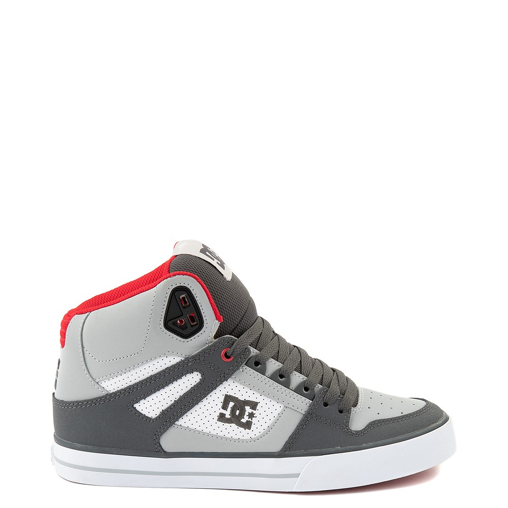 Mens DC Pure Hi WC Skate Shoe - Gray / White / Red
