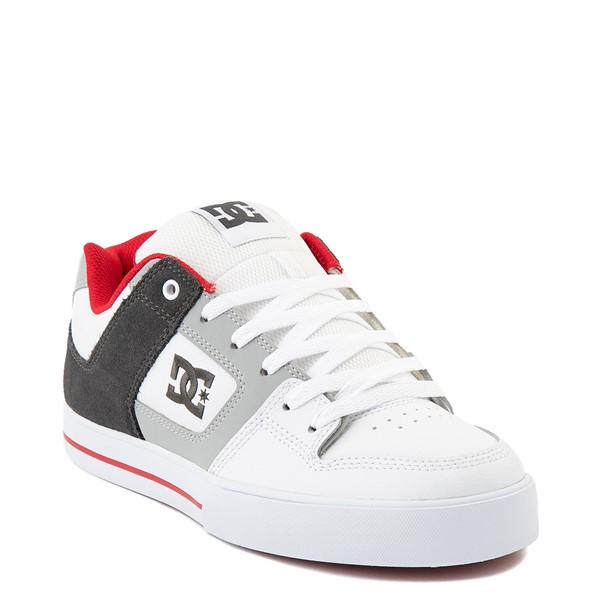 alternate view Mens DC Pure Skate Shoe - White / Gray / RedALT1