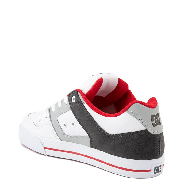 alternate view Mens DC Pure Skate Shoe - White / Gray / RedALT2
