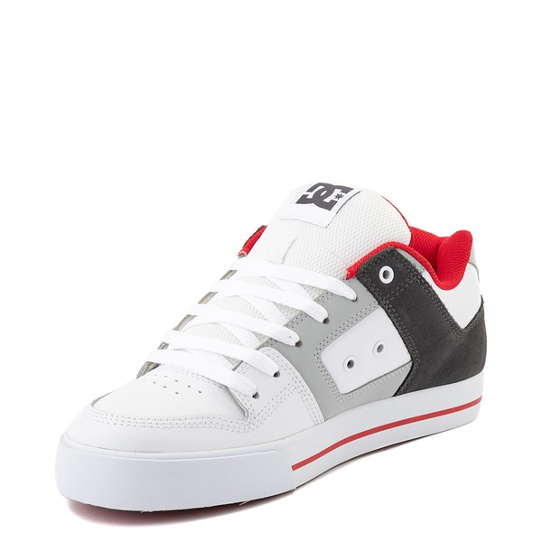 alternate view Mens DC Pure Skate Shoe - White / Gray / RedALT3