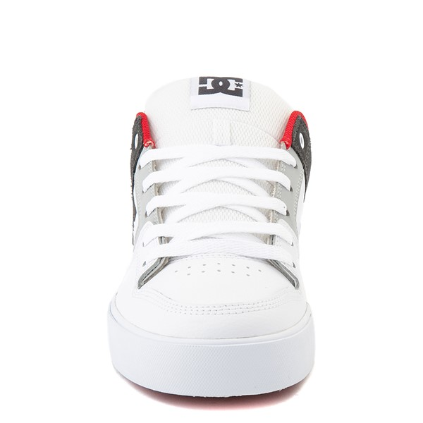 alternate view Mens DC Pure Skate Shoe - White / Gray / RedALT4