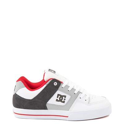 Main view of Mens DC Pure Skate Shoe - White / Gray / Red