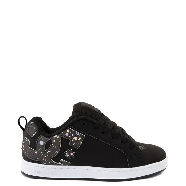 Main view of Womens DC Court Graffik Skate Shoe - Black / Splatter