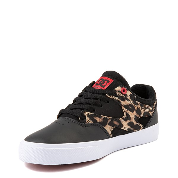 alternate view Womens DC Kalis Vulc Skate Shoe - Black / LeopardALT3
