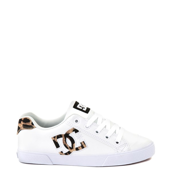 Main view of Womens DC Chelsea SE Skate Shoe - White / Leopard