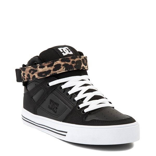 alternate view Womens DC Pure Hi V Skate Shoe - Black / LeopardALT1
