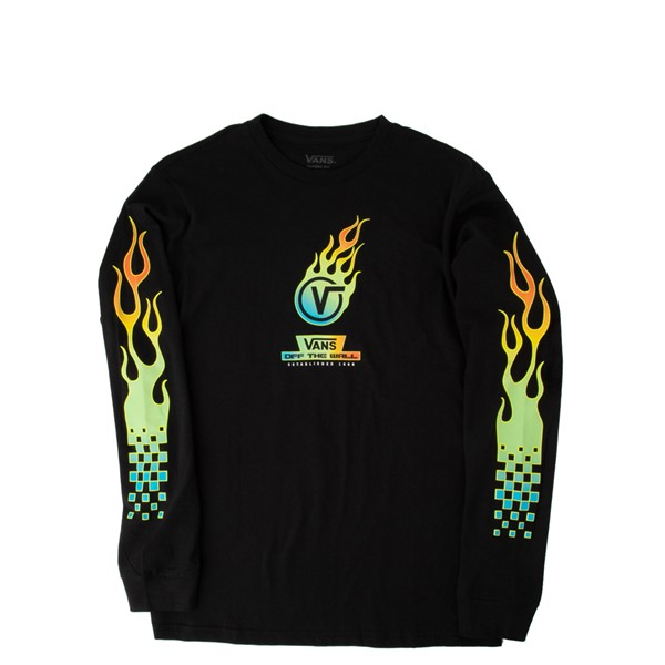Main view of Vans Glow Flame Long Sleeve Tee - Little Kid / Big Kid - Black