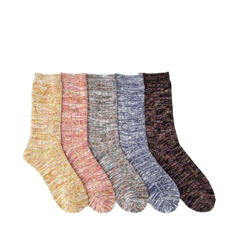 Womens Marled Slub Crew Socks 5 Pack - Multicolor