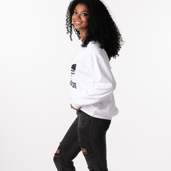 alternate view Womens adidas Trefoil Crew Sweatshirt - WhiteALT1