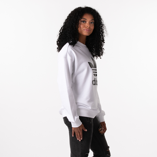 alternate view Womens adidas Trefoil Crew Sweatshirt - WhiteALT3