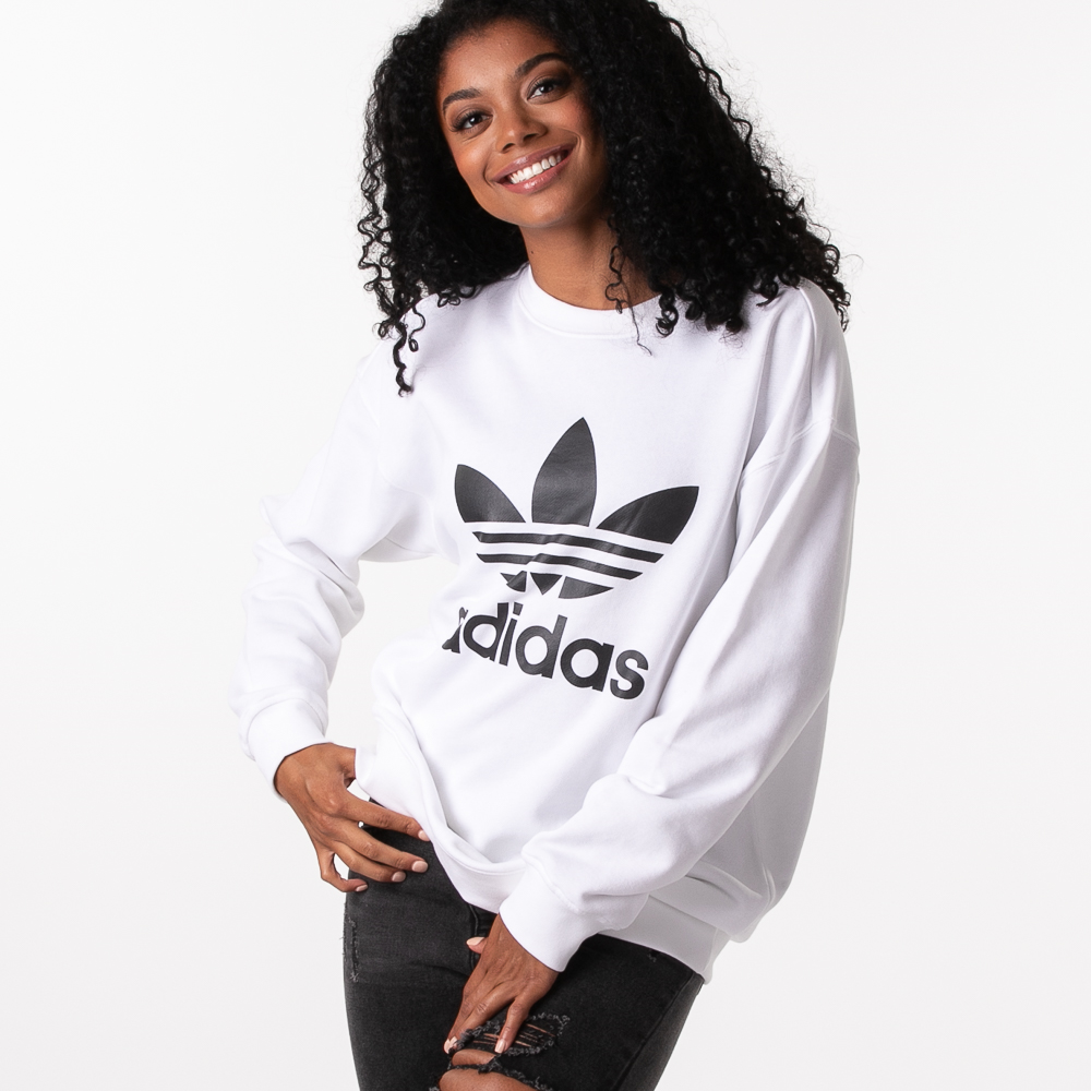 Womens adidas Trefoil Crew Sweatshirt - White