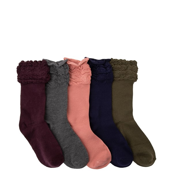Womens Ruffle Ruche Crew Socks 5 Pack - Multicolor