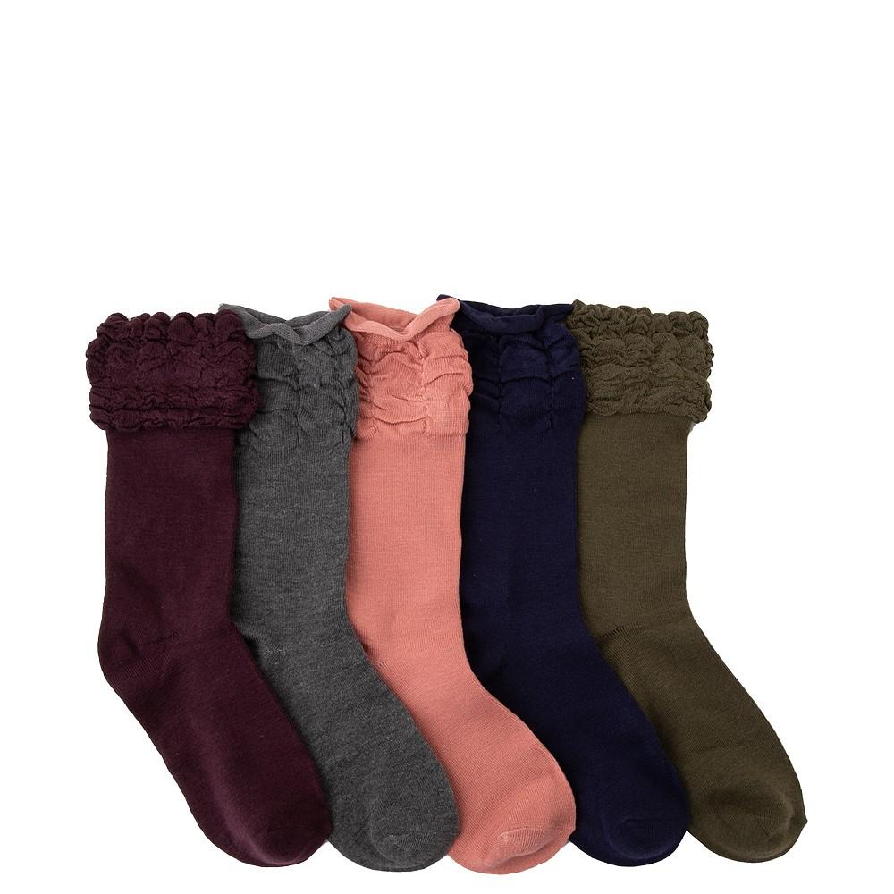Womens Ruffle Ruche Crew Socks 5 Pack - Multicolor