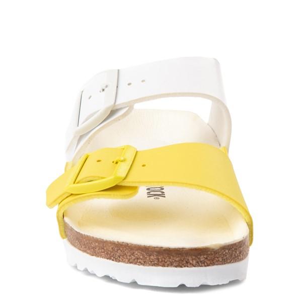 alternate view Womens Birkenstock Arizona Split Sandal - White / Lime SourALT4