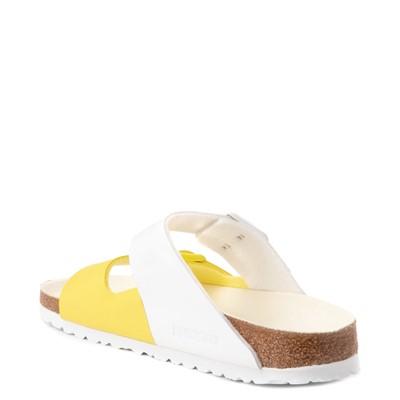 Alternate view of Womens Birkenstock Arizona Split Sandal - White / Lime Sour