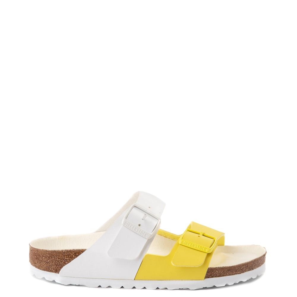 Womens Birkenstock Arizona Split Sandal - White / Lime Sour
