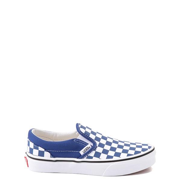Main view of Vans Slip On Checkerboard Skate Shoe - Little Kid - Limoges Blue