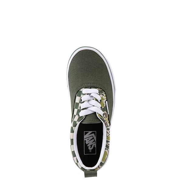 alternate view Vans Era Camo Checkerboard Skate Shoe - Little Kid - Kombu GreenALT2
