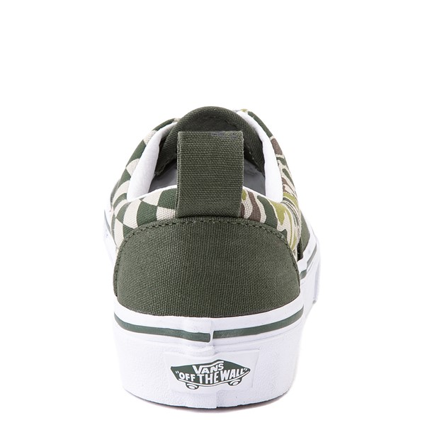 alternate view Vans Era Camo Checkerboard Skate Shoe - Little Kid - Kombu GreenALT4