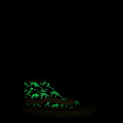 Alternate view of Vans Sk8 Mid Reissue V Dino Glow Skeleton Skate Shoe - Little Kid - Black