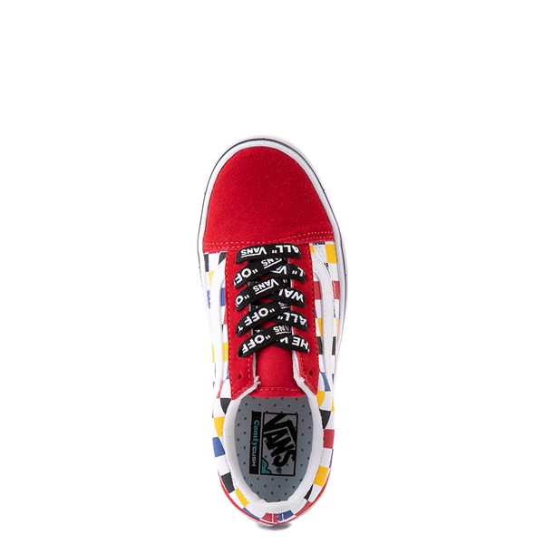 alternate view Vans Old Skool ComfyCush® Checkerboard Skate Shoe - Little Kid - Red / MulticolorALT4B